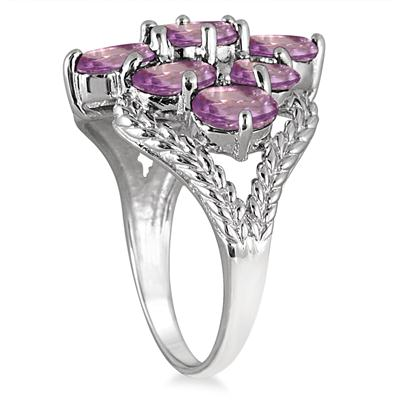 4.05 Carat Amethyst Cocktail Ring in .925 Sterling Silver