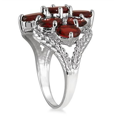 4.50 Carat Garnet Cocktail Ring in .925 Sterling Silver