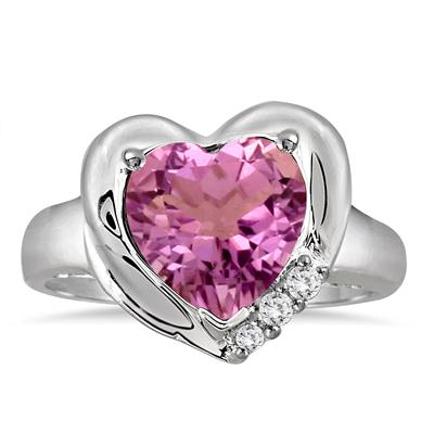 2.25 Carat Heart Shape Amethyst and Diamond Ring in .925 Sterling Silver