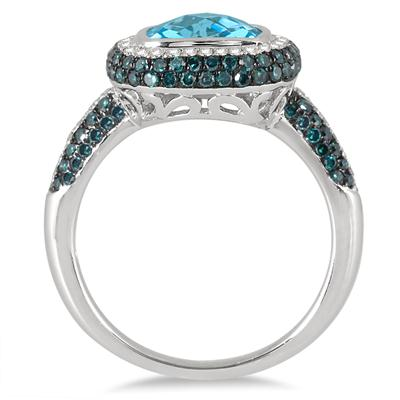 2.50 Carat Blue Topaz and Diamond Halo Ring in .925 Sterling Silver