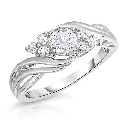 white sapphire brilliance ring in 925 sterling silver