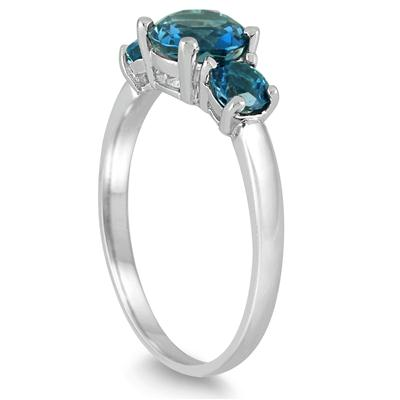 1.60 Carat London Blue Topaz Three Stone Ring in .925 Sterling Silver