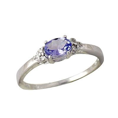 Tanzanite and Diamond Ring in 10kt White Gold