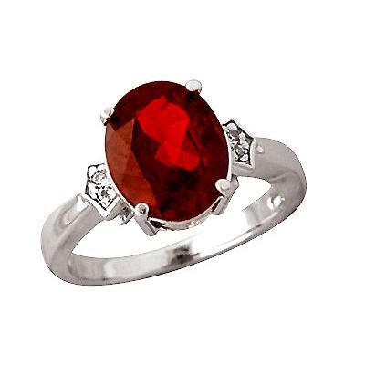 Garnet and Diamond Ring in 10kt White Gold