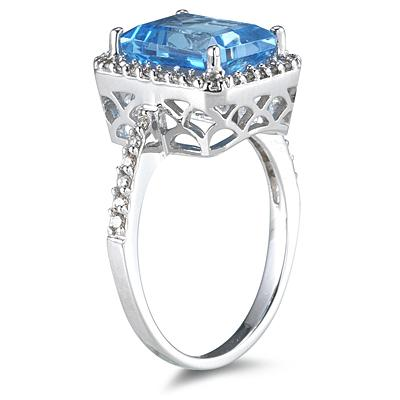 4.50 Carat Blue Topaz Ring with Diamonds in 14K White Gold