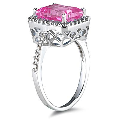 4.50 Carat Emerald Cut Pink Topaz and Diamond Ring 14K White Gold