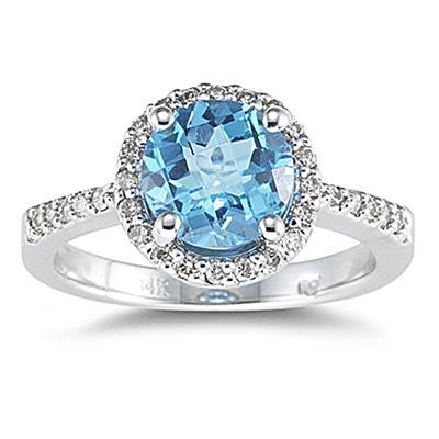 2.50 Carat Blue Topaz and Diamond Ring 14K White Gold
