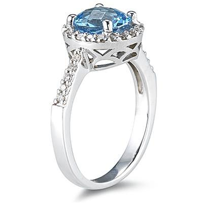 2 1/2 Carat Blue Topaz and Diamond Ring 14K White Gold