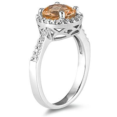 2 1/2 Carat Citrine and Diamond Ring 14K White Gold