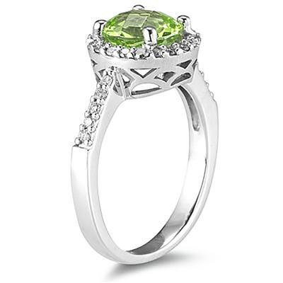 2 1/2 Carat Peridot and Diamond Ring 14K White Gold
