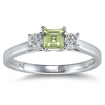3 Stone Perdiot Ring 14K White Gold
