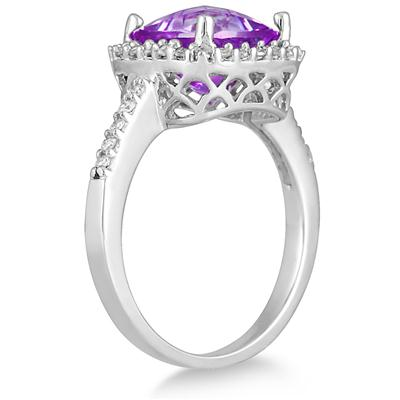 2.50 Carat Cushion Cut Amethyst and Diamond Ring 14K White Gold
