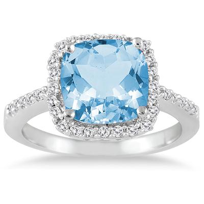 2 1/2 Carat Cushion Cut Blue Topaz and Diamond Ring 14K White Gold