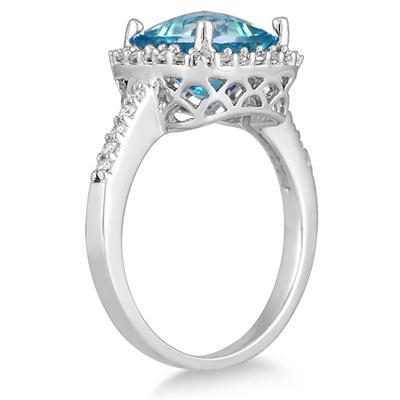 2 1/2 Carat Cushion Cut Blue Topaz and Diamond Ring 14K White Gold