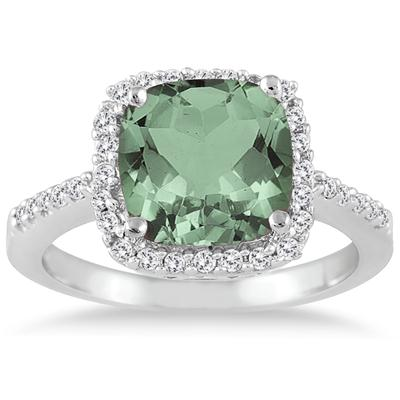 2.50 Carat Cushion Cut Green Amethyst and Diamond Ring 14K White Gold