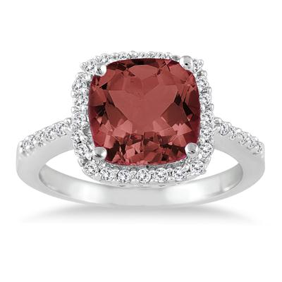 2.50 Carat Cushion Cut Garnet and Diamond Ring 14K White Gold