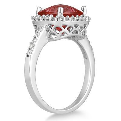 2 1/2 Carat Cushion Cut Garnet and Diamond Ring 14K White Gold