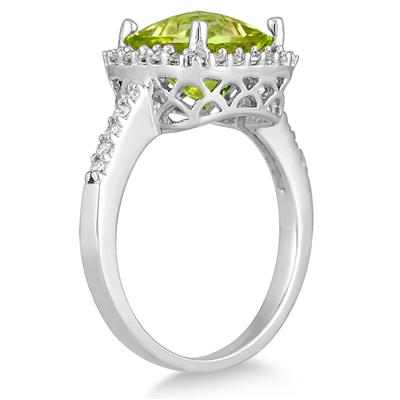 2 1/2 Carat Cushion Cut Peridot and Diamond Ring 14K White Gold