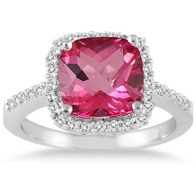 2.50 Carat Cushion Cut Pink Topaz and Diamond Ring 14K White Gold