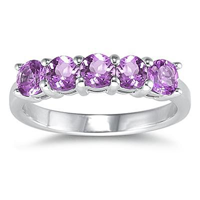 5 Stone Amethyst Ring 14K White Gold
