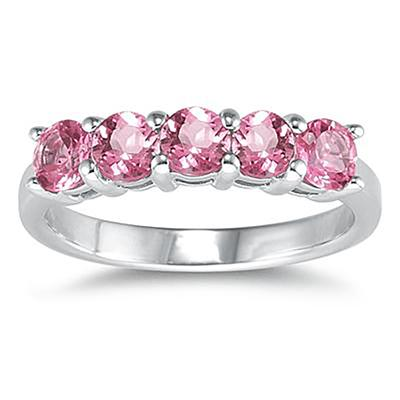 5 Stone Pink Topaz Ring 14K White Gold