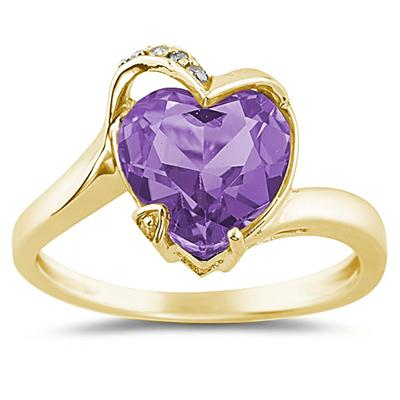 Heart Shaped Amethyst and Diamond Curve Ring in 14K Yellow Gold