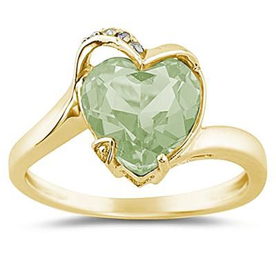 Heart Shaped Green Amethyst and Diamond Curve Ring in 14K Yellow Gold