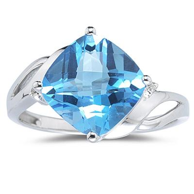 4.50CT Cushion Cut Blue Topaz & Diamond Ring in 14K White Gold