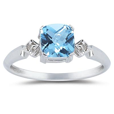 Cushion Cut Blue Topaz & Diamond Ring in White Gold