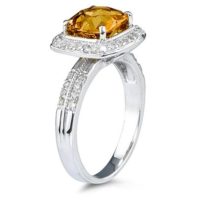 2.50 Carat Cushion Cut Citrine & Diamond Ring in 14K White Gold