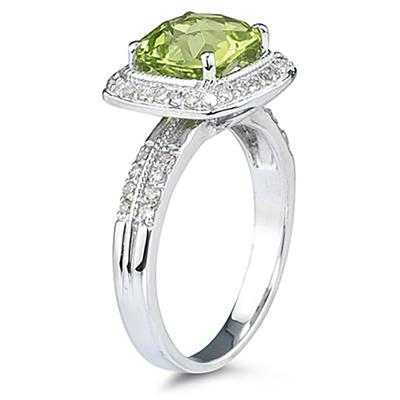 2.50 Carat Cushion Cut Peridot & Diamond Ring in 14K White Gold
