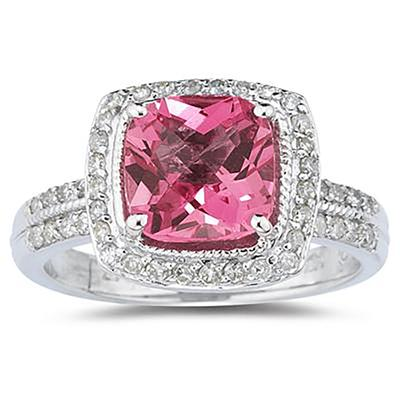2.50 Carat Cushion Cut Pink Topaz & Diamond Ring in 14K White Gold