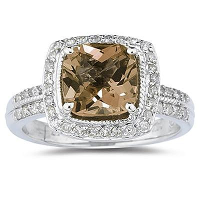 2 1/2 Carat Cushion Cut Smokey Quartz & Diamond Ring in 14K White Gold