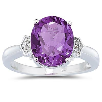 4.50 Carat Amethyst & Diamond Ring in White Gold