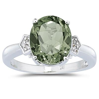4.50 Carat Green Amethyst & Diamond Ring in White Gold