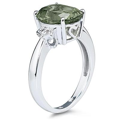 Green Amethyst & Diamond Ring in White Gold