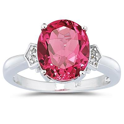 4.50 Carat  Pink Topaz & Diamond Ring in White Gold