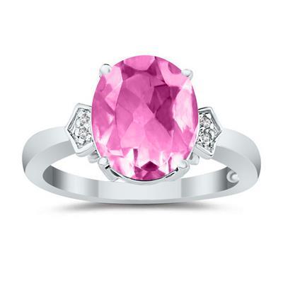 Pink Topaz & Diamond Ring in 10k White Gold