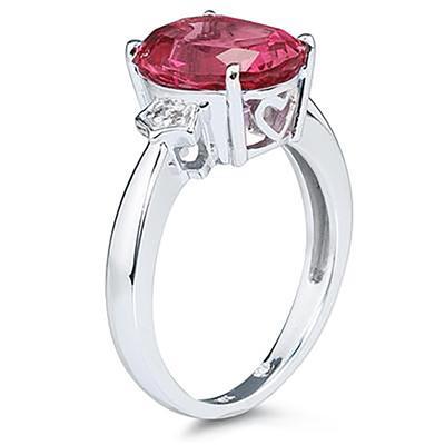 4.50 Carat  Pink Topaz & Diamond Ring in White Gold