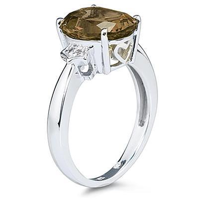 Smokey Quartz & Diamond Ring in 10k White Gold
