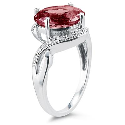 Oval Shaped  Garnet  and Diamond Curve Ring in 10K White Gold