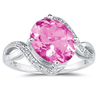 Oval Shaped Pink Topaz   and Diamond Curve Ring in 10K White Gold