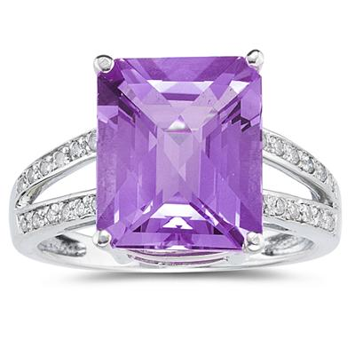 7 Carat Emerald  Cut Amethyst and Diamond Ring 10k White Gold
