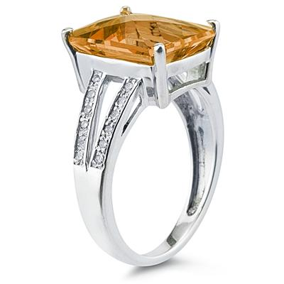 7 Carat Emerald  Cut Citrine and Diamond Ring 10k White Gold
