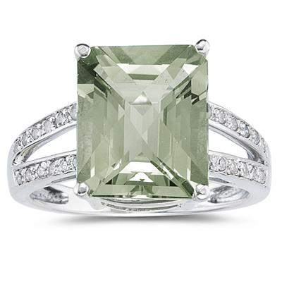 7 Carat Emerald  Cut Green Amethyst and Diamond Ring 10k White Gold