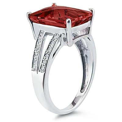 7 Carat Emerald  Cut Garnet and Diamond Ring 10k White Gold