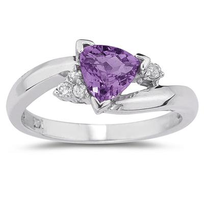 .75ct Trillion Cut Amethyst  and Diamond Ring in 14K White Gold