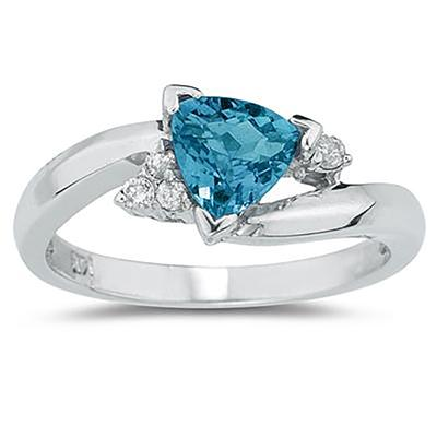 .75ct Trillion Cut Blue Topaz  and Diamond Ring in 14K White Gold
