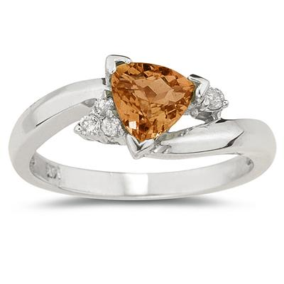 3/4 Carat Trillion Cut Citrine  and Diamond Ring in 14K White Gold