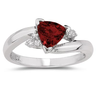 3/4 Carat Trillion Cut Garnet  and Diamond Ring in 14K White Gold